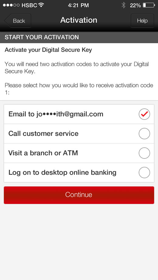 hsbc digital secure key activation not working